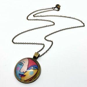 Jewelry - Antique Brass Picasso Portrait Cameo Necklace